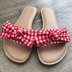 Shoes - NWOT Red Gingham Print Sandals